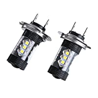 Amiley Automotive H7 Headlight LED Lights Bulbs ,2PC 80W Car High Power Led Fog Light H7 80W Lamp