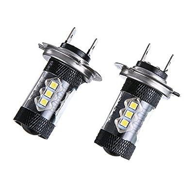 Amiley Automotive H7 Headlight LED Lights Bulbs ,2PC 80W Car High Power Led Fog Light H7 80W Lamp