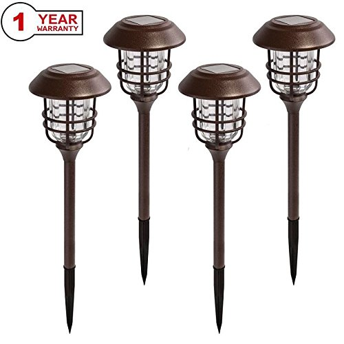 Solar Lights Outdoor Pathway - 4 Pack Bright Glass Solar Powered LED Garden Path Landscape Lighting Bronze Powder Coated Die Casting Aluminum Patio Path Lights Heavy-Duty for All Weather (Bronze)