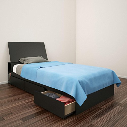 Nexera Corbo Storage Bed with Headboard, Black Queen, Twin ()