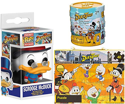 Going for Gold Coins Ducktales Scrooge McDuck Figure Pocket Pop! Keychain Bundled with + Glitter Puzzle Box & Disney Ducks Exclusive Money Ducks Mini Figure Blind Box Stack Collectibles 3 Items
