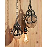Design Toscano Vintage Cast Iron and Wood Wheel Farm Pulley (Set of 2), Multicolor