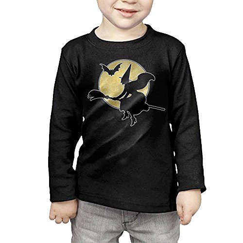 Plus Elegant Witch (Vintage Halloween Witch With Moon Kids Children Unisex Long Sleeve Cotton Crew Neck T-Shirt Tee)