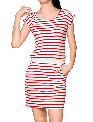 Allegra K Women Round Neck Sleeveless Stripes Unlined Casual Dresses Red White (Drawstring Dress)