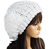 JOVANA New Arrival Top Fashion Winter Warm Women Lady Yong Girls Baggy Beret Chunky Knit Knitted Braided Beanie Hat Ski Cap Crochet Knitted Hat Knitted Crochet Oversized Slouch Hat for Women (White)