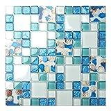 bathroom tile designs photos TST Mosaic Tiles Glass Conch Tiles Beach Style Sea Blue Glass Tile Glass Mosaics Wall Art Kitchen Backsplash Bathroom Design TSTGT370 (10 Square Feet)