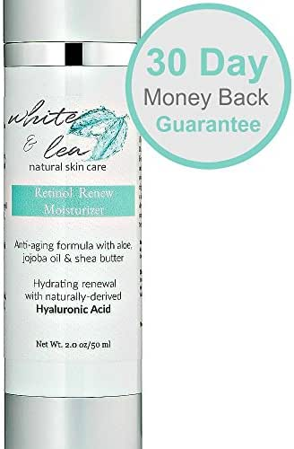 Best Retinol Cream for Face | Natural Skin Care Products - Anti Aging Moisturizer for Sensitive Skin with Hyaluronic Acid by White & Lea | Anti-Wrinkle Facial Night Cream with Aloe, 2 Oz