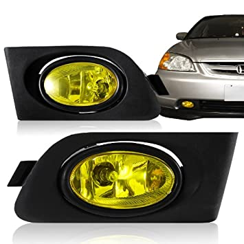 Amazon.com: 2001   2003 Honda Civic (DX EX GX HX LX Si ) 2/4 Door JDM  Yellow Fog Light Kit: Automotive