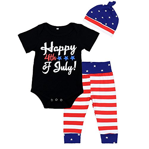 Zefeng Happy 4th of July 2018 Baby Boys Girl 3Pcs Outfits Romper+ Striped Long Pants+Cap Clothes Set,6-12 Months,Black