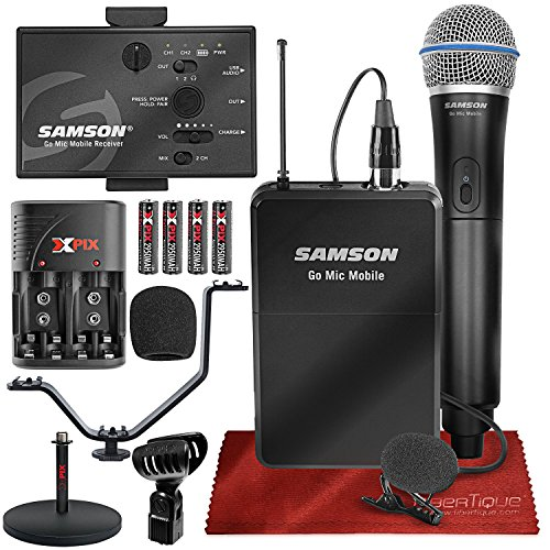 (Samson Go Mic Mobile Professional Digital Wireless System with Q8 Dynamic Handheld Mic/Transmitter and LM8 Lavalier Mic and Belt Pack Transmitter, Mic Stand, and Deluxe Bundle)
