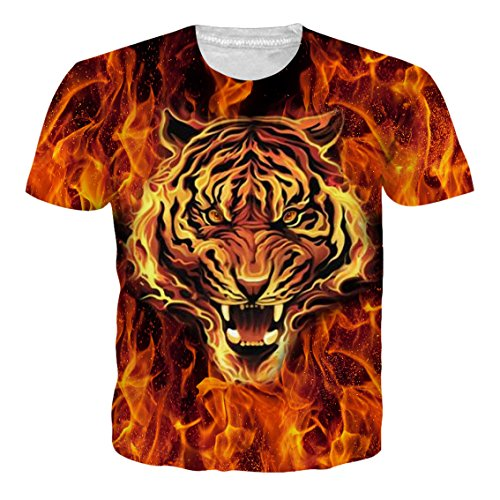 (Goodstoworld Unisex Fire Tiger Face Power and Grace Adult Crew-Neck T-Shirt Short Sleeve Tops Tees)