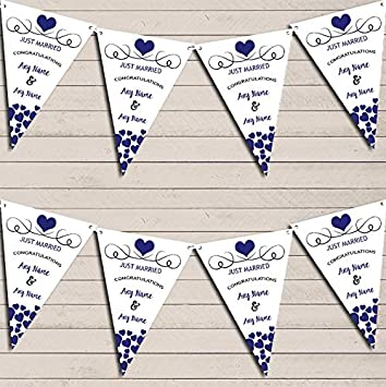 Hearts Flag Banner Garland Just Married Navy Blue Wedding Day Bunting Garland
