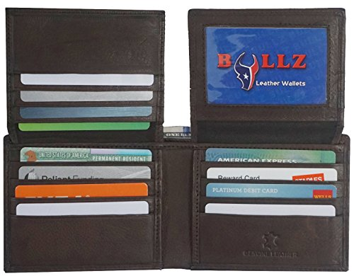 Bullz RFID Signal Blocking Protection Leather Credit Card Holder Mens Wallet (Brown) (Best Mens Wallet For Lots Of Cards)
