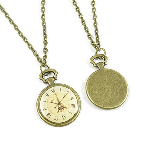 1 Pieces Antique Bronze Fashion Jewelry Making Charms Necklace Costume Sweater Long Chain Pendant XL-GT00863 Clock Pocket ()