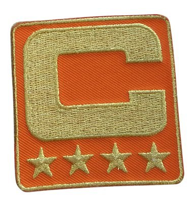 Orange Captain C Patch (All Gold) Iron On for Jersey Football, Baseball. Soccer, Hockey, Lacrosse, Basketball