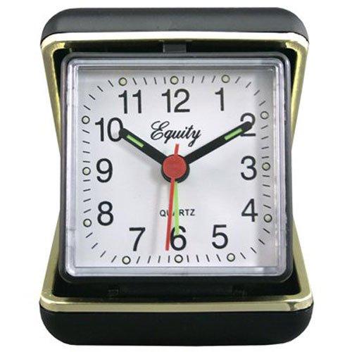 LA Crosse Technology Advance Black Case Quartz Analog Clamshell Travel Alarm Clock