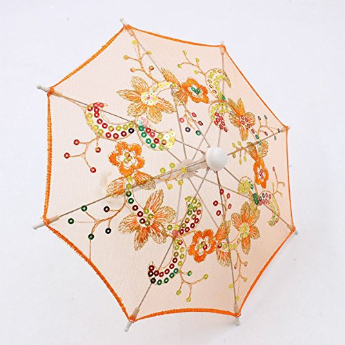 (Amyove Doll Clothing Lace Sequins Umbrella for 16-18 Inch Barbie Doll Accessories Girl Gift Kids House Toy for Kids Gift Orange)