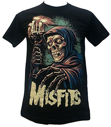 Misfits Candle Skeleton American Punk Rock Band T Shirt Black Size L