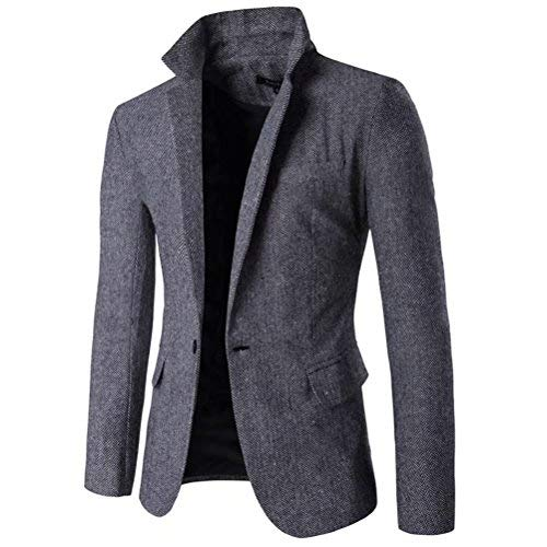 SUSIELADY Men's Blazer Jacket Herringbone Sport Coat Smart Formal Dinner Cotton Suits Slim Fit One Button Notch Lapel Coat ()