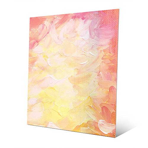 Velvet Sentiment: Modern Contemporary Abstract Graphic Painting in Pastel Colors Pink Peach Yellow White Magenta Wall Art Print on Metal