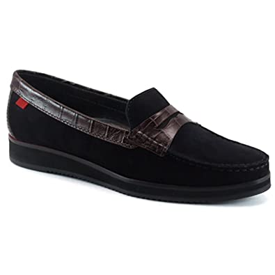 Marc Joseph NY Women Chambers Street Nubuck Loafer Crocodile Trim Black Size 5.5