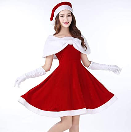Amazoncom Santa Claus Costume Womens Tube Top Dress Off