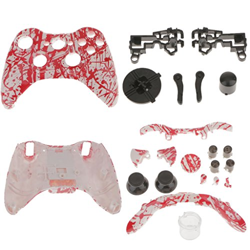 (MagiDeal Blood Splatter Custom Shell Buttons Mod Kit Replace for Xbox 360 Controller)