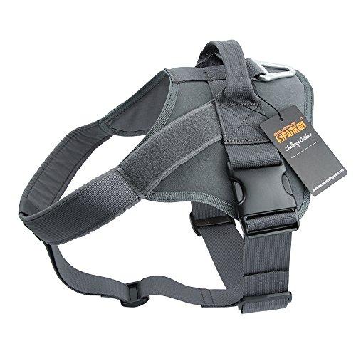 EXCELLENT ELITE SPANKER Tactical Dog Harness Military Training Patrol K9 Service Dog Vest Adjustable Working Dog Vest with Handle(Grey-L)