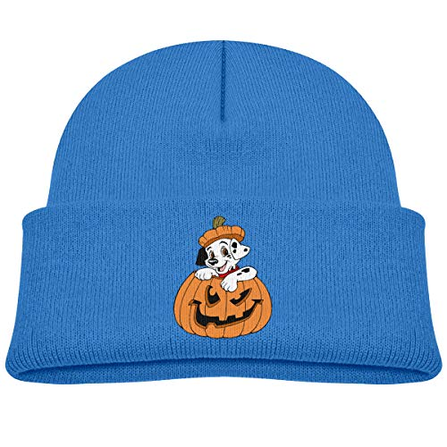 Head Space Puppy Clipart Halloween Kid's Warm Hat Knitted Beanies Blue