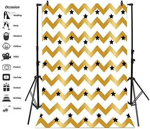 Black Stars Backdrop 6x8ft Golden and White Chevron Stripes Polyester Photography Background Baby Shower Birthday Party Decor Banner Portraits Shoot Photo Prop Studio Wallpaper Celebrate