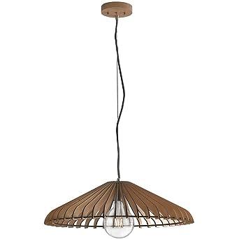 Lámpara Techo madera natural rústico vintage E27 ambiente i-calder ...