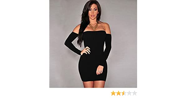 05e6a28322c Amazon.com: Dolland Women's Sexy Off Shoulder Long Sleeve Club Bodycon  Tight Party Cocktail Pencil Mini Dress,BlackS: Arts, Crafts & Sewing