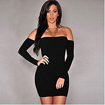 375ffe53643 Amazon.com: Dolland Women's Sexy Off Shoulder Long Sleeve Club Bodycon  Tight Party Cocktail Pencil Mini Dress,BlackXL: Arts, Crafts & Sewing