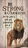 Cheap P. GRAHAM DUNN Be Strong Courageous Lion Design 24 x 14 Wood Pallet Wall Art Sign Plaque