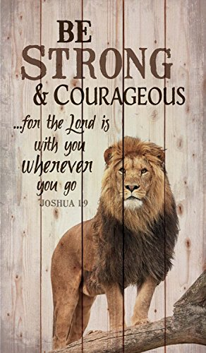 P. Graham Dunn Be Strong and Courageous Lion Design 24 x 14 Wood Pallet Wall Art Sign - Inspirational Wall Plaque Art