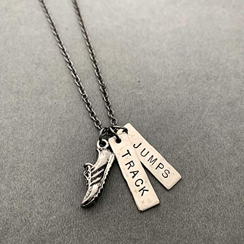 RUN TRACK JUMPS Necklace - Pewter Running Shoe Charm and 2 Hand Hammered Nickel Silver Pendants Hand Stamped with TRACK and JUMPS on 18 inch Gunmetal Chain - Track Jumps Event
