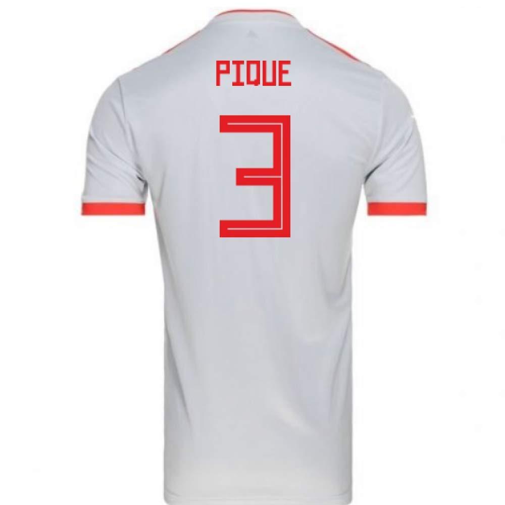 "2018-2019 Spain Away Adidas Football Shirt (Gerard Pique 3) B07H9SVSF6 Medium 38-40"" Chest Grey Grey Medium 38-40"" Chest"