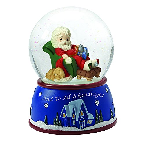 "Precious Moments, Christmas Gifts, ""Santa Sleeping In Recliner"", Plays We Wish You A Merry Christmas, Musical Snow Globe, - Teacher Christmas Merry Wishes To"