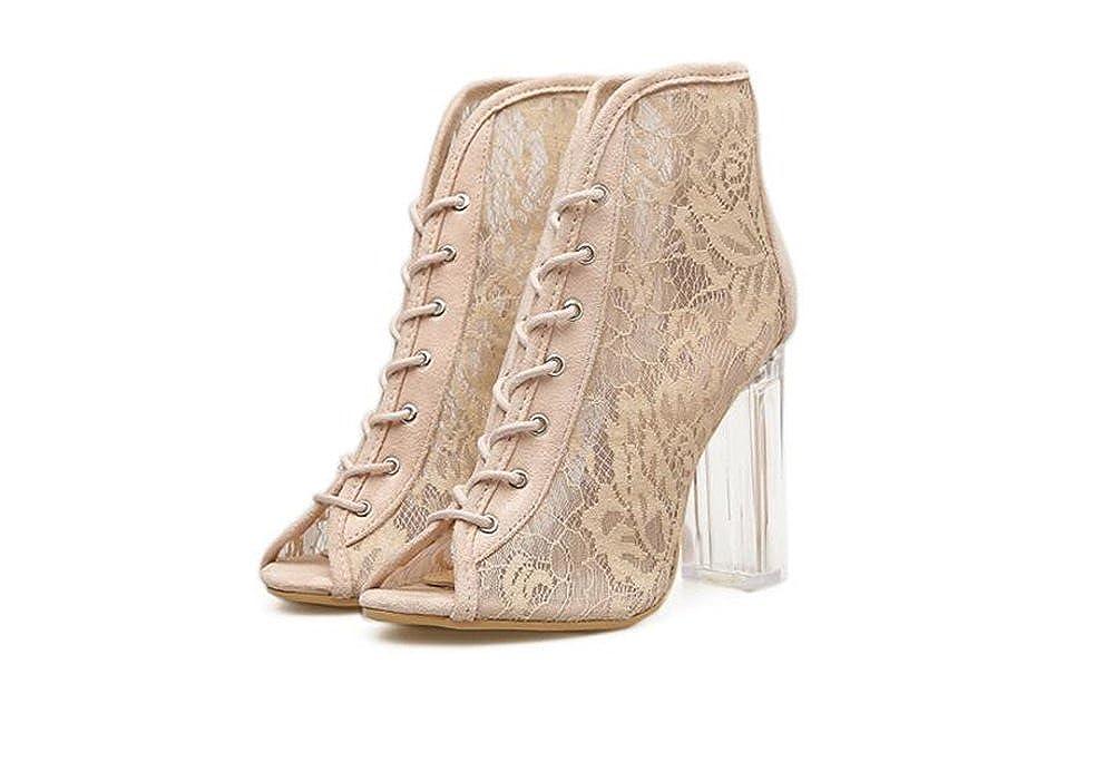 Cloudless Women's Open Toe Wedding Wedding Wedding Rhinestone Gladiator Mesh Sandal Wedge Shoes 39/8.5 B(M) US Women|Beige B07F667WH4 9518bd