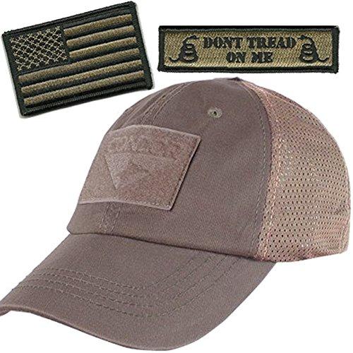 Operator Cap Bundle - w USA/Dont Tread Patches (Dark Earth Cap - Mesh)