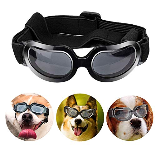 Loggipet Dog Sunglasses Pet Goggles Eyewear UV Protection Waterproof Pet Sun Glasses Adjustable Strap for Dogs Puppies Cats from Loggipet