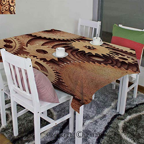 AngelSept Dining Room Kitchen Rectangular Table Cover,Inside The Clocks Theme Gears Mechanical Copper Device Steampunk Style Print(52