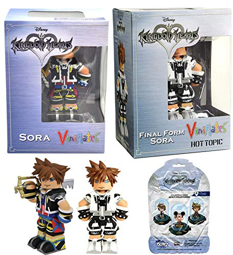 Soar 2 ViniMates Hot Topic Exclusive Sora Final Form Figure & Mini Domez Series Kingdom Hearts Disney Action Figure Keyblade Sora Collectible 3-Pack Disney Game Gear Bundle