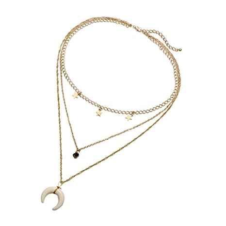 Pendant Geometric Crystal Chunky Jewelry Clavicle Chain Three-layer Necklace