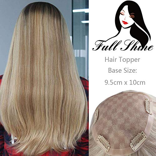 Full Shine Top Piece For White Women 16 Inch Dark Roots Color #2 Fading To #27 Highlight #613 Blonde Free Part Topper Diy Bangs Remi Straight Hairpiece 55g Mono Soft Base(9.5x10cm)