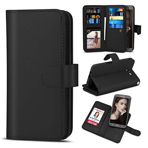 TILL for Galaxy J7 Sky Pro Case, TILL J7 V/J7V/J7 Perx 2017 Wallet Case PU Leather Carrying Flip Cover [Cash Credit Card Slot Holder & Kickstand] Detachable Magnetic Folio Slim Hard Case Shell [Black]