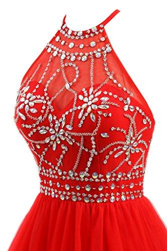Homecoming Ellames Tulle Dress Royal Dress Blue Short Beaded Prom Halter Women's ttxRwqSF1