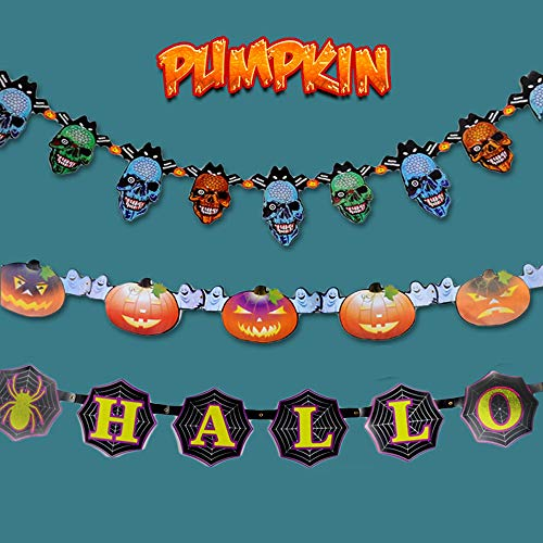MyRalice 3pcs Halloween Paper Garland Banner Hanging Decorations,Skulls/Halloween Letter/Pumpkins-Creepy Indoor Party, Kids Class Room, Haunted House Decor(10 Feet Per Garland)