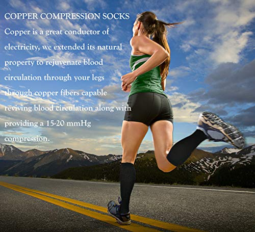 Copper Compression Socks For Men & Women(3 Pairs)- Best For Running,Athletic,Medical,Pregnancy and Travel -15-20mmHg (S/M, Multicoloured 2) by FuelMeFoot (Image #2)