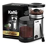 Kaffe Electric Burr Coffee Grinder. Stainless Steel - 20 Settings - Perfect for Grinding Coffee, Spices, Grains, Nuts, Herbs. 4oz Capacity - Cleaning Brush Included!